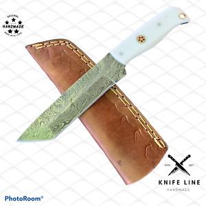 CUSTOM HAND MADE DAMASCUS STEEL TANTO BLADE HUNTING SKINNING KNIFE
