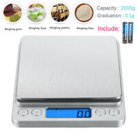 2000gx0.1g Electronic Digital Kitchen Food Cooking Weight Balance Scale Accurate