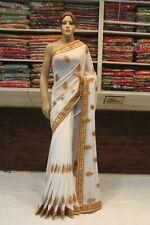 Silk Indian Bollywood White Saree Designer Mirror Work Sari Wedding Party Dress