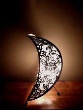 Unusual Half Moon Bali Lamp Bali Antique Metal Finish Moon Lamp 50cm High
