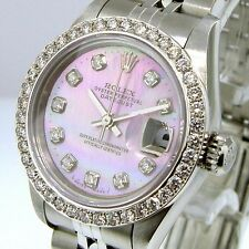 ROLEX DATEJUST PINK MOTHER OF PEARL DIAMOND DIAL DIAMOND BEZEL LADIES WATCH