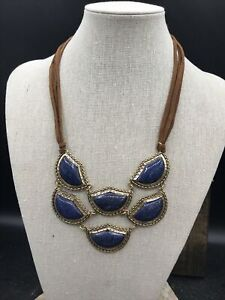 Barse Voyager Necklace- Lapis & Leather- Bronze- New With The Tags