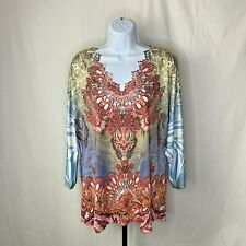 Reba Womens Top Plus Size 2X White Blue Red Multicolored Western Boho Style