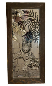 """Vintage SUNWEST Tiger Etched Mirror in Wood Frame 22.5"""" x 10.5"""" x1"""" (Stunning!)"""