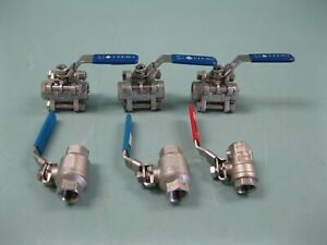 """Lot (6) 1/2"""" NPT Stainless Steel Ball Valve CFF, Pinacle, etc A13 (2832)"""