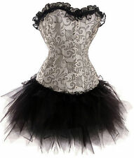 Silver Burlesque Costume Corset Dress With Tutu Skirt Moulin Rouge Fancy Dress