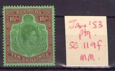 BERMUDA George VI SG119f Jan 53 prtg,single,multi-colour  lightly hinged