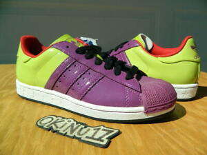 DS 2009 Adidas Originals Superstar 1 Energy Trainers Violet Lime Patent Leather