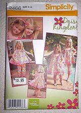 Simplicity Pattern 2466 Girls Dress, Top, Capri Pants, Tote, Headband **Uncut