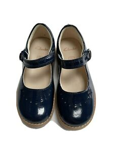 Clarks 'Crown Jump' Navy Patent T Bar Shoe Size 9G WIDE