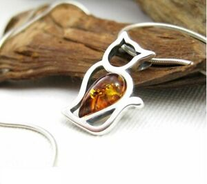 NATURAL BALTIC AMBER STERLING SILVER 925 PENDANT & CHAIN NECKLACE CAT Certified