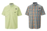 COLUMBIA SUPER BONEHEAD CLASSIC SHORT SLEEVED PLAID FISHING SHIRT BUTTON FRONT