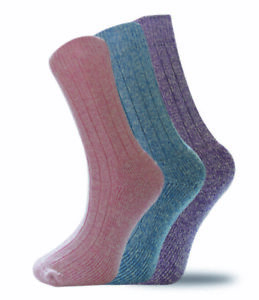 3 Pairs Ladies Wool Blend Padded Sole Walking Hiking Boot Socks UK 4-7