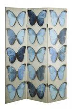 Paravent Raumteile Schmetterlinge Dekoration Modern Bunt Blau Grau