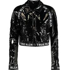 TRUE RELIGION Black pvc cropped gloss wet look glanz  Biker Jacket Size M
