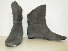 Manolo Blahnik Slouch Boots Booties Size 39 Women gray suede flats