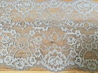 "*New* 7""/18cm Stunning Silver Grey Stretch Galloon Lace Trim. Sewing/Lingerie"