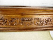 XL Antique Carved Wood Dragons Heraldic Fish Double Pediment Architectural 54.5""