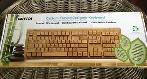 Impecca Bamboo Custom Carved Keyboard - Wired - USB Cable - 100% Natural Bamboo