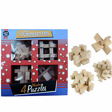 4 Wooden Puzzles Wood Brain Teaser Puzzles Stress Toy Mind Training Puzzles Play