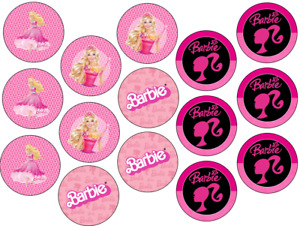 BARBIE INSPIRED 15 x 2'' ROUND EDIBLE WAFER / ICING CUPCAKE TOPPERS