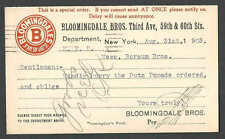 DATED 1903 PC NYC BLOOMINGDALE BROTHERS CLOTHING & DEPT STORE