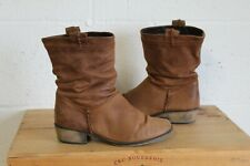 BROWN NUBUCK LEATHER WESTERN STYLE BOOTS SIZE 4 / 37 BY NEXT USED CONDITION