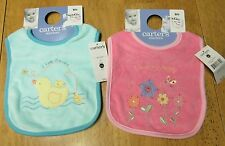 NWT Carter's Starters Vintage Two Terry ~ I love GRANDPA / I LOVE MY DADDY BIBS