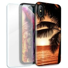 Paradise Sunset Double Layer Case Glass Screen For Apple iPhone XR