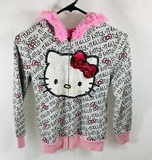 Hello Kitty Girls Zip Up Hoodie Size Medium Faux Fur Trim Hood Sequin Bow L/S