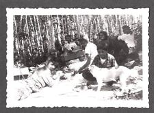 VINTAGE 1940S GERMAIN WISCONSIN JACK RUSSELL TERRIER DOG CAMPING FEAST OLD PHOTO