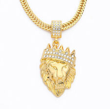 Hip Hop Iced Out Bling Gold King Lion Pendant/Necklace! Halloween Fancy Dress