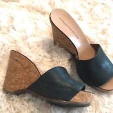 EUC Diane Von Furstenberg leather cork wedges heels size 8.5 black