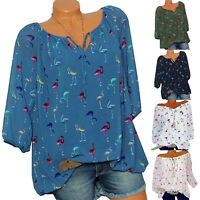 Womens Summer Floral V Neck Blouse Bandage Baggy Tops Tunic T Shirts Plus Size