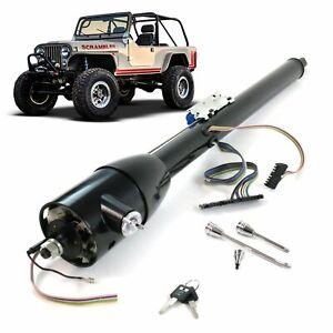 """1976-1986 Jeep CJ5 CJ7 Wrangler Black 32"""" Keyed Tilt Floor Shift Steering Column"""