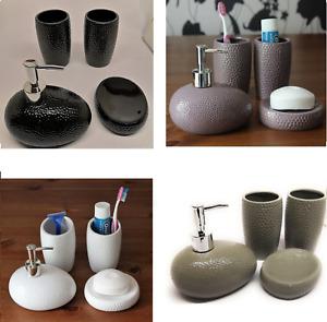 Ceramic 4PCS Bathroom Accessory Sets, Stoneware Soap Dish, Dispenser - zmum67