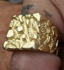 vintage, Men's size 8, weight=14gms 14k solid Gold Nugget Ring,