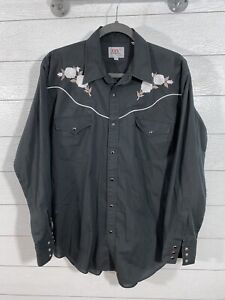 Ely Diamond Western Snap Front Shirt Black Embroidered Floral Men's Size L