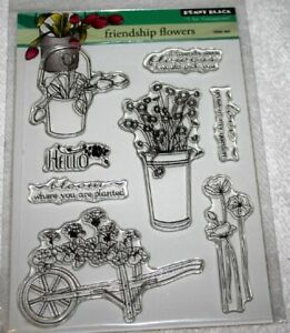 Penny Black Rubber Stamp  FRIENDSHIP FLOWERS  Clear Acrylic Transparent  NIP