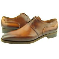 Fertini Handpainted Leather Derby, Men's Dress Oxford Shoes, Tabacco