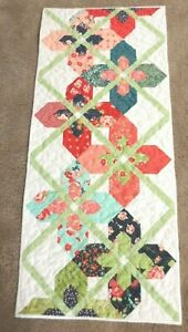 """Hand Made Quilted  Table Runner/Topper~ 16"""" x 37"""" ~ White,Green,Orange,Red,blue"""