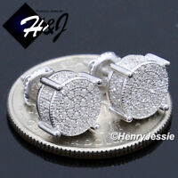MEN 925 STERLING SILVER 9MM ICED SILVER//GOLD ROUND SCREW BACK STUD EARRING*E163