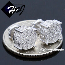MEN 925 STERLING SILVER 8MM LAB DIAMOND ICED ROUND SCREW BACK STUD EARRING*E142