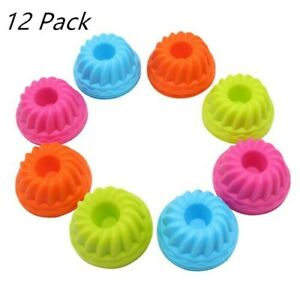 12PCS Silicone Cupcake Liner Bake Muffin Dessert Baking Chocolate Cups Mold US