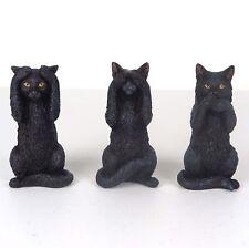 """Black Kittens Cat - Hear Speak See No Evil - Figurine Miniature 3.75""""H New"""