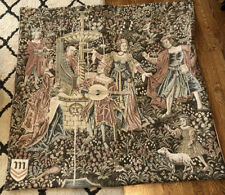 LOOK Vintage Flemish Medieval Mille-Fleurs Style Wall Hanging Tapestry! Amazing!