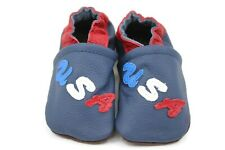 Kidzuu Soft Sole Baby Infant Leather Crib Shoe - Navy Bootie with USA Detail