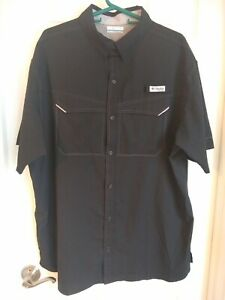 Columbia Mens PFG Short-Sleeve black shirt, XL