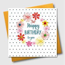 Birthday Greeting Card, Flowers and Dotty Background, POM002, Pompom Embellished