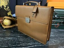 SALVATORE FERRAGAMO Italy 100% Authentic Brown Leather Attache Briefcase Bag Men